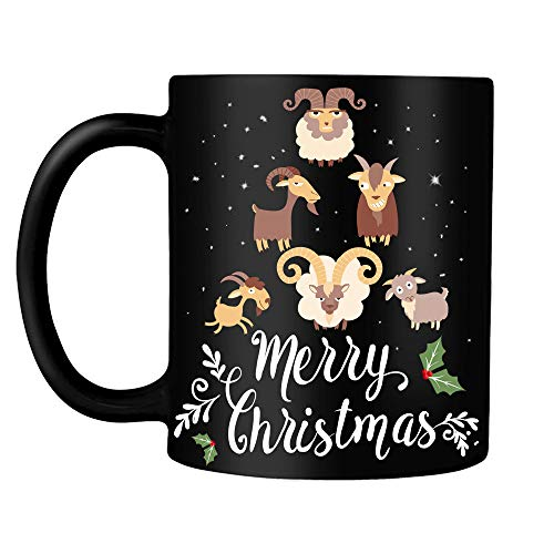 Goat Christmas Tree Merry Christmas Farmer Farming Kids Women Men Gifts on Xmas Day Party Decor Black Ceramic Coffee Tea Mug cup 11oz