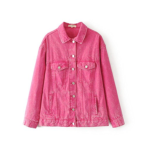 Hot Pink Denim - 2017 Women Ripped Wash Denim Jacket Jean Coat Hot Pink Long Sleeve (One Size)