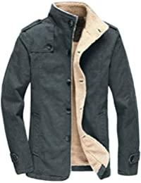 Mens Winter Fleece Windproof Jacket Wool Outerwear Single Breasted Classic Cotton Windbreaker Jacket Coats Bronze