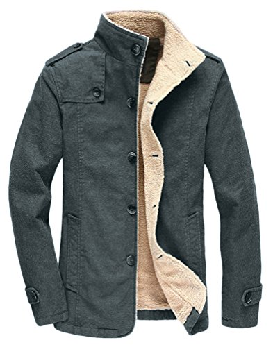 Mens Classic Single - Vcansion Men's Winter Fleece Windproof Jacket Wool Outerwear Single Breasted Classic Windbreaker Jacket Coats Blue Grey XL