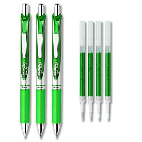 (Pentel EnerGel Deluxe RTX Liquid Gel Ink Pen Set Kit, Pack of 3 with 4 Refills (Green - 0.7mm))