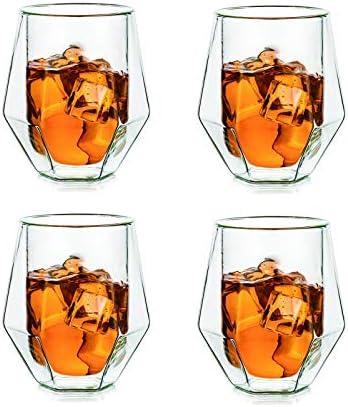 Glasseam Juego De 4 Vasos De Whisky De Diamante, 200 Ml, Únicos Vasos De Ron De Doble Pared para Hombres, Vasos Espesos para Beber, Cumpleaños para Hombres, Padre, Esposo para Vino Helado