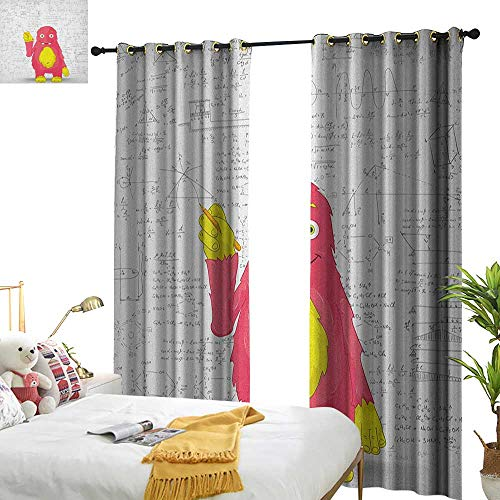 WinfreyDecor Sliding Curtains Kids Funny Smart Monster Doing Math on Wall Science Nerds Comic Illustration Pattern Darkening and Thermal Insulating W96 x L84 Pink Yellow White