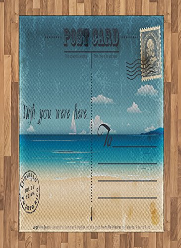 Tropical Flat Card - Ambesonne Travel Area Rug, Nostalgic Tropical Summer Season Backdrop on Vintage Card Stamp Travel Print, Flat Woven Accent Rug for Living Room Bedroom Dining Room, 4 X 5.7 FT, Sand Brown Teal