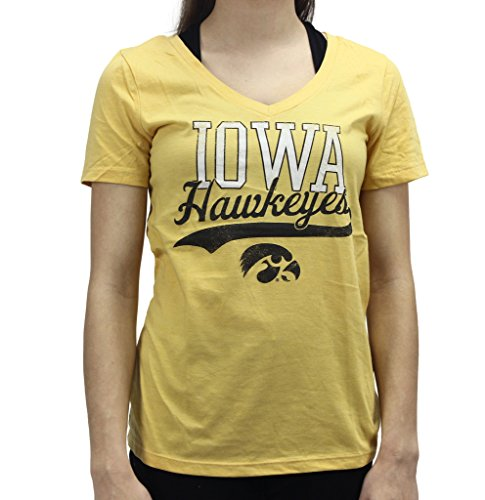 University Tees Women' s Apparel Iowa Hawkeyes Short Sleeve V Neck T-Shirt (V-neck Hawk)