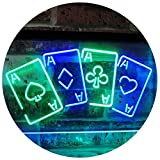 Four Aces Poker Casino Man Cave Bar Dual Color LED Neon Sign Green & Blue 16'' x 12'' st6s43-i2705-gb