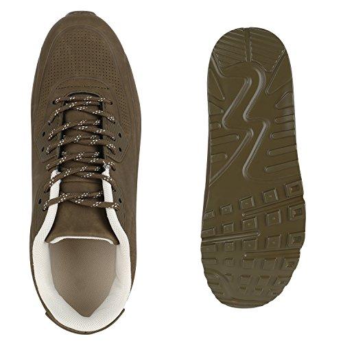 Stiefelparadies Herren Sportschuhe Laufschuhe Leder-Optik Materialmix Stoff Sneakers Sneaker Runners Profilsohle Trainers Flandell Dunkelgrün