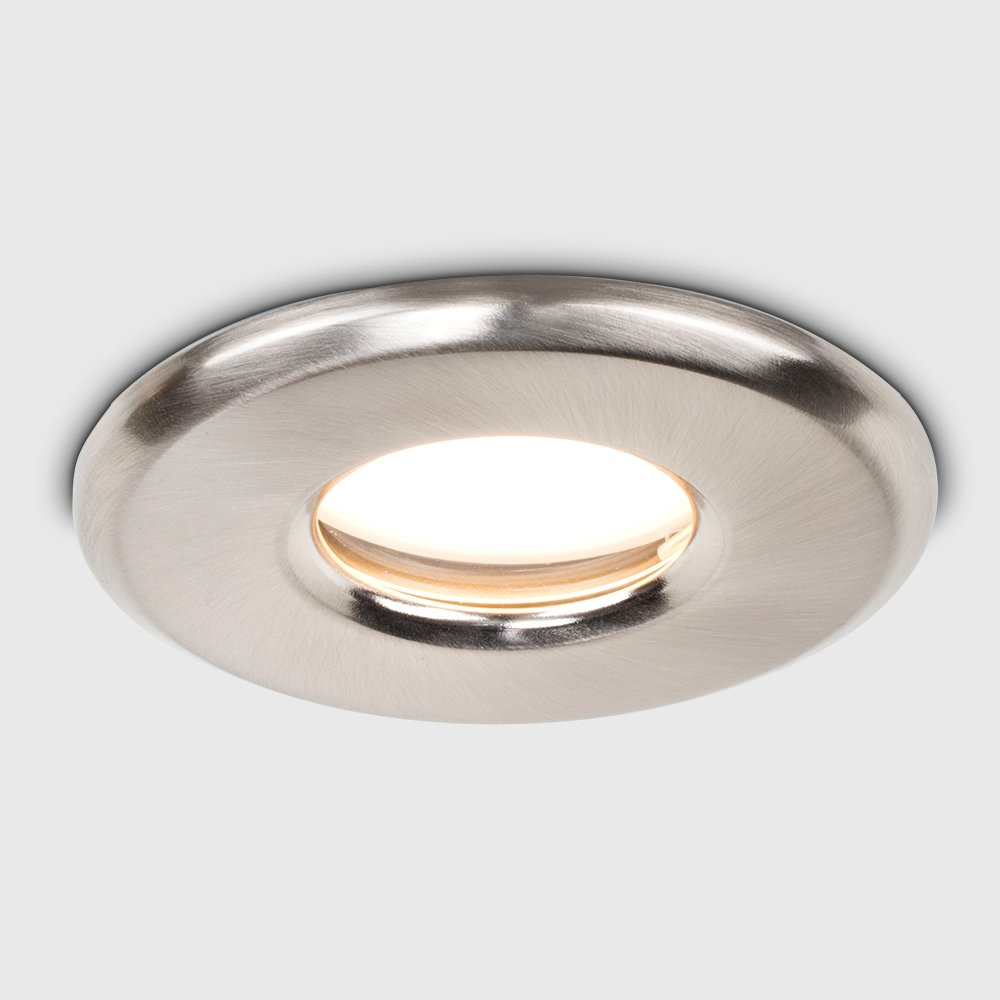6 x MiniSun Bathroom//Shower//Soffit IP65 Rated Brushed Chrome GU10 Recessed Ceiling Downlights