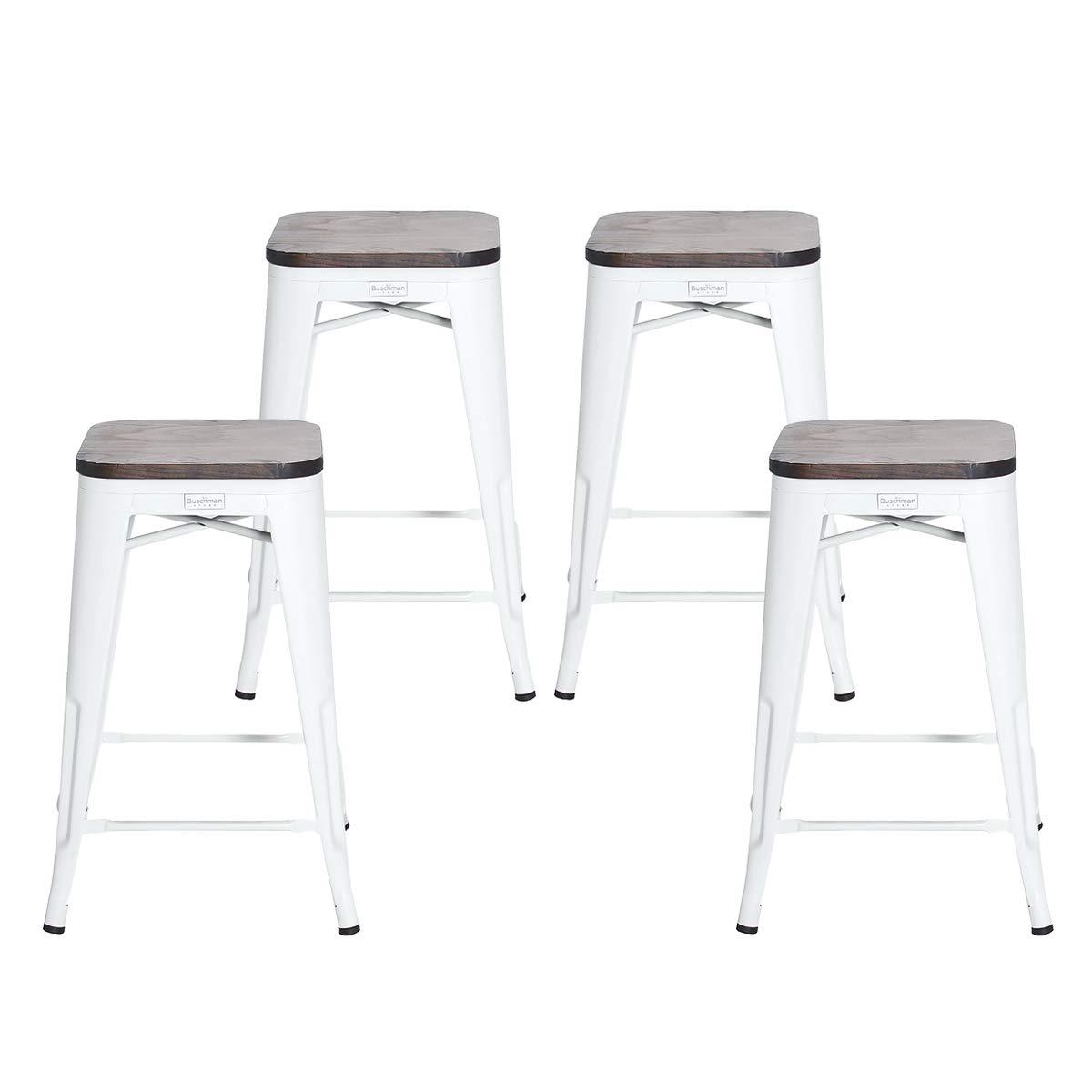Buschman Set of 4 Matte White Wooden Seat 26 Inch Counter Height Metal Bar Stools, Indoor/Outdoor, Stackable by Buschman Store