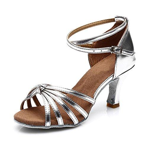 SWDZM Damen Ausgestelltes Tanzschuhe/Standard Latin Dance Schuhe Satin Ballsaal Modell-D217-7 Silber (Absatz-7cm)