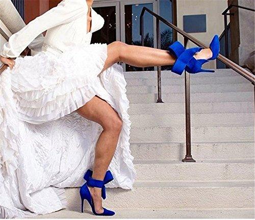 Talons Bout Nœud Bride wealsex Sandales Femme Aiguilles Bleu Cheville Escarpins Pointu Haute Suédé aa8Yq