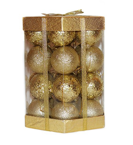 Sequin Ball - 28 Glitter & Sequin Christmas Ball Ornaments Boxed Set (Gold)