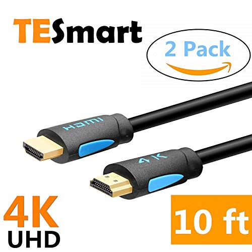 TESmart 2 Pack 10 ft High Speed with Ethernet 4K@60Hz 4:4:4 HDMI Cables, Premium HDMI Cord Type, Supports HDMI V2.0 4K 60Hz HDR