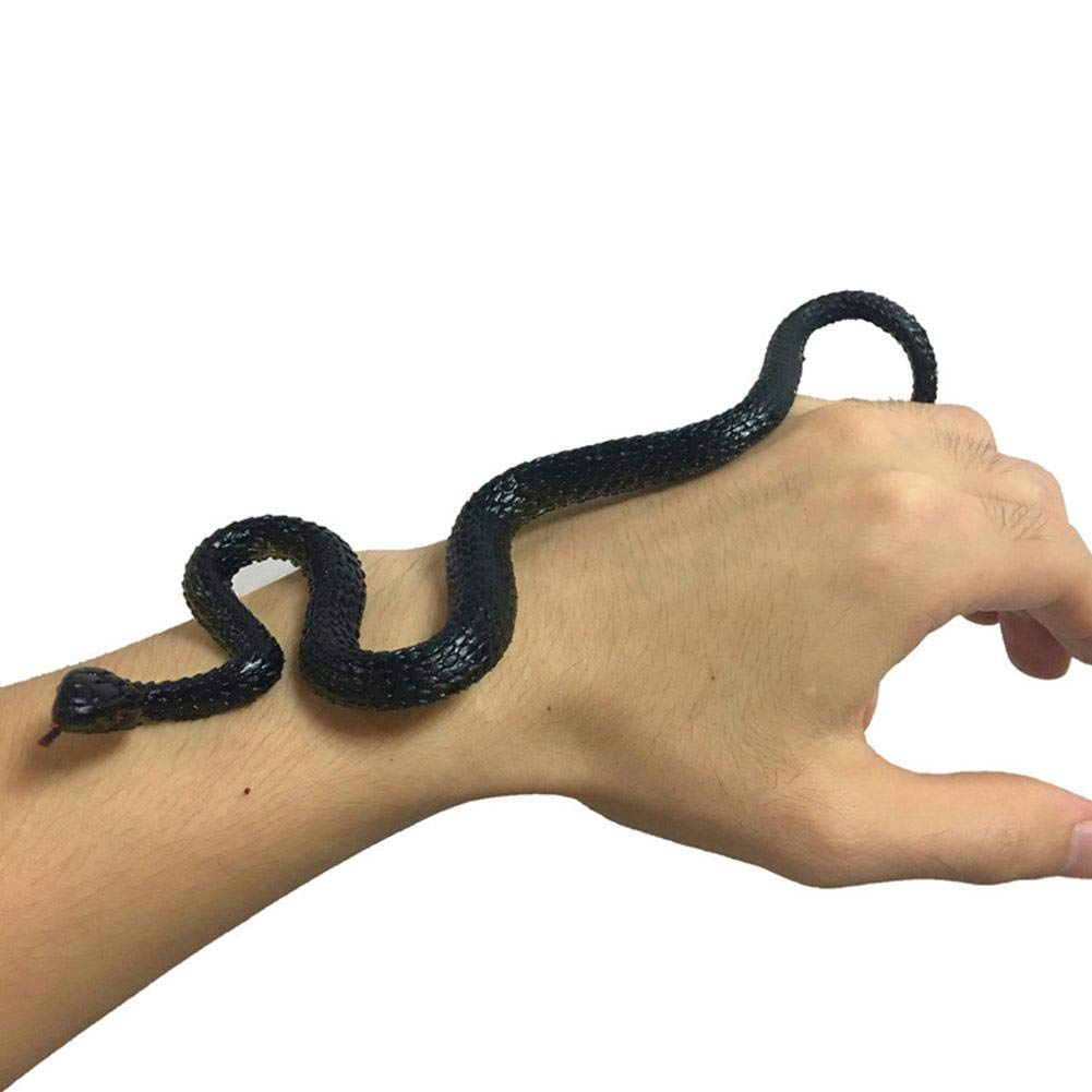 Jannyshop Simulation Caoutchouc Noir Serpent Faux Serpent Accessoires de Jardin Tricky Funny Toy (Jouets)