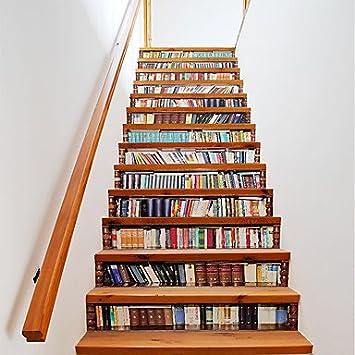 Treppen Bucher hy gg 3d bücherregal treppen aufkleber viele arten bücher treppe