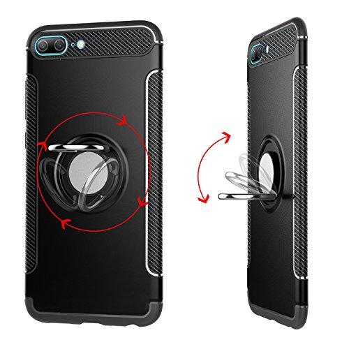 GR Para Huawei Honor 9 Lite Armor Dual Layer Protection Case con soporte giratorio para anillo de sujeción e imán Car Holder Case ( Color : Red ) Gold