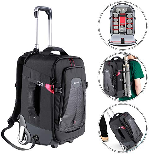 (Neewer 2-in-1 Rolling Camera Backpack Trolley Case - Anti-Shock Detachable Padded Compartment, Hidden Pull Bar, Durable, Waterproof for Camera,Tripod,Flash Light,Lens,Laptop for Air Travelling(Black))
