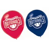 """Sports and Tailgating MLB Party Washington Nationals Printed Latex Balloons Decoration, 6 Pieces, Blue and Red, 12"""" by Amscan"""