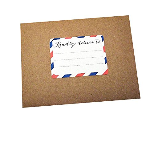 Holiday Stripes Address Label (Kindly Deliver To Address Labels by Once Upon Supplies, Rectangle Stickers with Red, White and Blue Airmail Stripes, 60 Labels in Each Set)