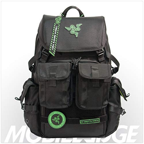 (Mobile Edge Razer Tactical Pro 17 Inch Laptop Gaming Backpack, Black, Rugged Ballistic Material, Padded Laptop Section, Molle Pocket Front, Water-resistant, Hideaway Rain Cover, RAZERBP17)