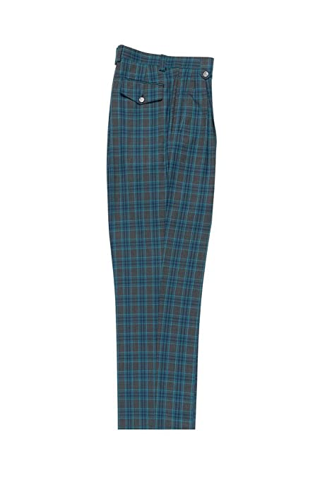 Victorian Men's Pants – Victorian Steampunk Men's Clothing Tiglio Luxe Slate Gray Navy Blue Turqouise Plaid/Windowpane Wide Leg Pure Wool Dress Pants 2576 RF2637/5 $99.00 AT vintagedancer.com