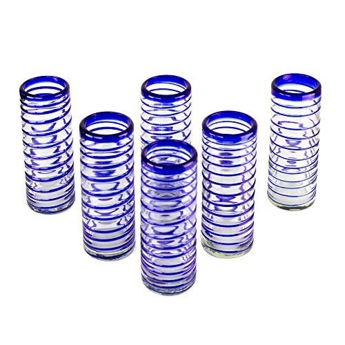 (NOVICA Artisan Crafted Clear Blue Hand Blown Recycled Highball Glasses, 14 oz 'Cobalt Swirl' (Set of)