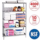 Seville Classics UltraDurable Commercial-Grade 5-Tier NSF-Certified Steel Wire Shelving with Wheels, 48' W x 18' D x 72' H, Chrome