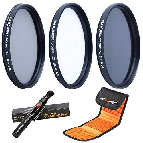 K&F Concept 37mm UV CPL ND4 Neutral Density Len Accessory Filter Compatible with Canon Nikon DSLR Camera + Cleaning Pen + Flower Petal Lens Hood + Center Pinch Lens Cap +Filter Pouch ()