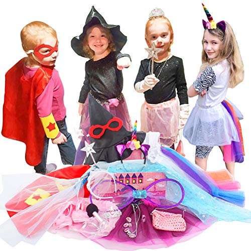 Toiijoy Girls Dress up Trunk,Princess,Fairy,Mermaid,Ballerina,Bride,Pop Star,Witch,Hero Costume for Little Girls Pink -
