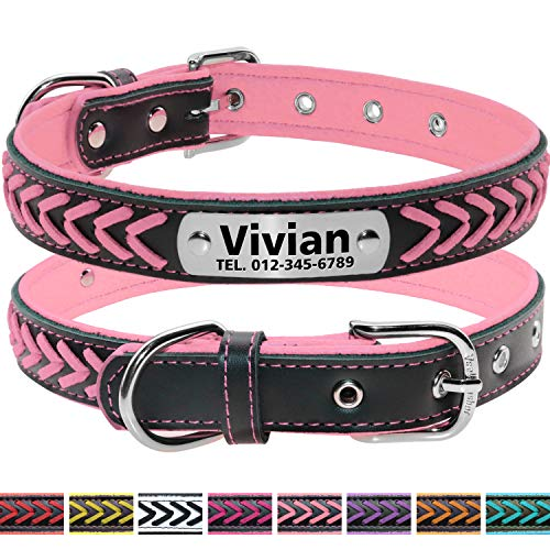 (Vcalabashor Custom Leather Dog Collar/Braided Genuine Leather Name Plated Dog Collars for Small Medium Large/Personalized Engraved On Collar Pet ID Tags/Pink & Black/XS S M L)