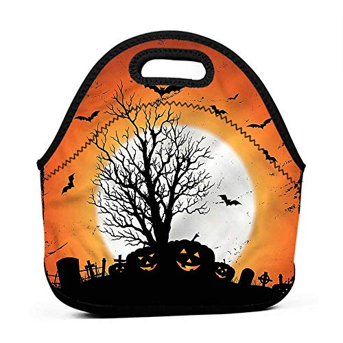 Convenient Lunch Box Tote Bag Vintage Halloween,Bats Pumpkins,tinkerbell lunch bag for adults -