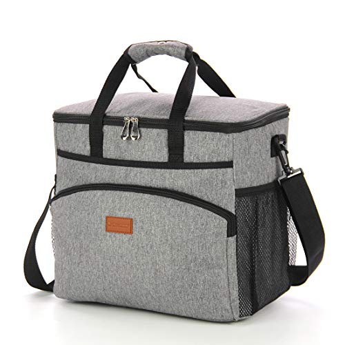 (GROWNEER Insulated Food Delivery Bag Commercial Grade Thermal Carrier for Hot or Cold Temperatures - Perfect for Catering or Any Food Transport Occasion, 23 L, Grey)