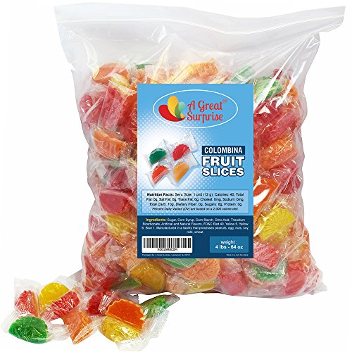 Jelly Candy Fruit Slices, Individually Wrapped, Assorted Flavors By Colombina, 4 LB Bulk Candy