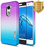 NageBee for Huawei Ascend XT 2 Case with [Full Cover Tempered Glass Screen Protector] [Frost Clear] [Carbon Fiber] Slim Soft Cover Case for Huawei Ascend XT2 H1711 / Huawei Elate 4G LTE -Purple/Blue