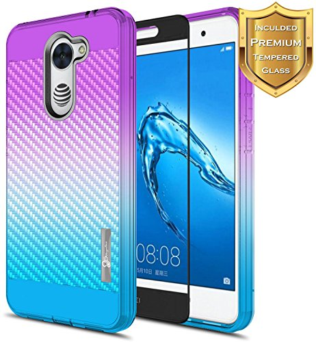 NageBee For Huawei Ascend XT 2 Case with [Full Cover Tempered Glass Screen Protector] [Frost Clear] [Carbon Fiber] Slim Soft Cover Case For Huawei Ascend XT2 H1711/Huawei Elate 4G LTE -Purple/Blue 4g Protector Case Cover