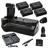 Ultrapro Battery Grip Bundle for Canon Rebel T6i, T6s: Includes BG-E18 Replacement Grip, 4-Pk LP-E17 Long-Life Batteries, Rapid Dual Charger, AC/DC Adapters, UltraPro Accessory Bundle