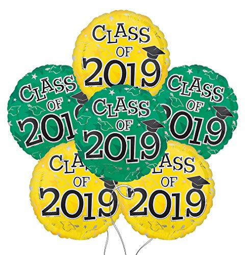 (Graduation Cap Class of 2019 Round Mylar Balloons in Yellow & Green - 6 Pack)