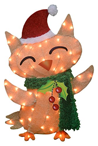 ProductWorks 32-Inch Pre-Lit Victoria Hutto Owl Christmas Yard Decoration, 50 - Pre Christmas Lit Decorations