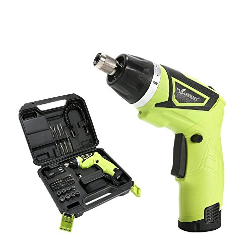 LANNERET Electric Screwdriver Cordless Household 7.2 V Lithium Ion Rechargeable Power Screw Guns with LED Light&48 Pieces BMC Packing by LANNERET
