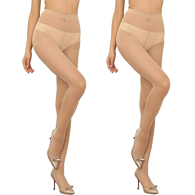 b02a58a8af16b Women's 2 pairs High Waist Tight Nude Sheer Pantyhose 5 Denier Stocking