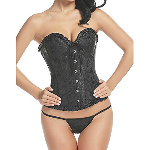 Youloveit Women Sexy Plus Size Bustier Overbust Corset Tops with G-String -