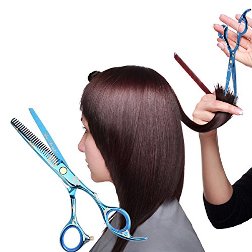 AuroTrends Professional Barber Razor Edge Hair Cutting Shears Set, Sakura Hairdressing Scissors and Hair Thinning Scissors/Shear Set+ Free Case/Hairclips/Comb/Cleaning Cloth (Sakura) by AuroTrends (Image #8)