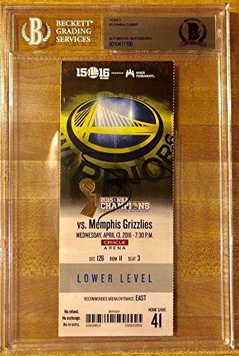 Stephen Curry Signed Autograph Golden State Warriors 73Rd Win Ticket Beckett Bas Coa Bgs
