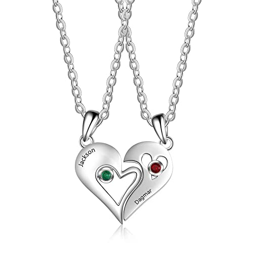 39d0210020 Wendy Made Personalized Couple Necklace Heart Matching Set Pendants for  Boyfriend and Girlfriend Customized Best Friends