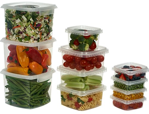 Decony Deli Food Storage Containers with Lids Temper Evident Leak-Proof Ultra Clear Square Space Saver and Stackable Shape Microwavable and Freezable and Dishwasher Safe, 64 oz, Set of 10 by Decony