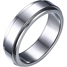 HIJONES Unisex Stainless Steel LGBT Gay Lesbian Pride Rainbow/Gold/Silver Spinner Wedding Band Ring 6mm