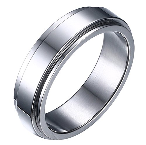 HIJONES Women's Stainless Steel Silver Spinner Band Ring 6mm Size 10