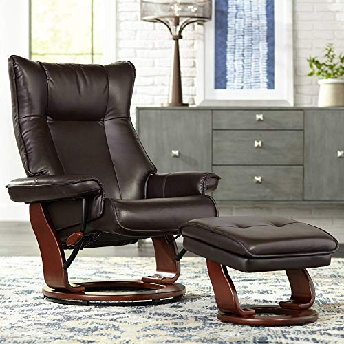 Morgan Java Faux Leather Ottoman and Swiveling Recliner - BenchMaster