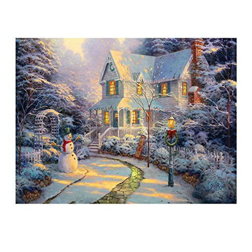 Whitelotous Christmas Snow House DIY 5D Diamond Painting Embroidery Paint-By-Number Kit Home Wall Decor 16 x 12 Inch