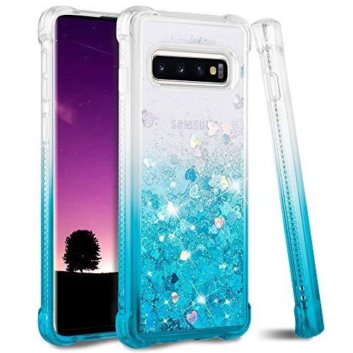 Ruky Galaxy S10 Plus S10+ (NOT S10) Case Glitter Liquid Gradient Quicksand Series Soft TPU Bumper Cushion Protective Women Girls Phone Case for Samsung Galaxy S10 Plus, Gradient Teal